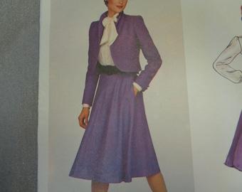 UNCUT 1980's Vogue American Designer No. 2372 by Don Sayres: Semi-Circular Bias Skirt , Jacket and Bow Blouse- Size 12