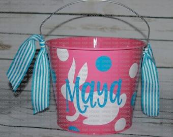 5 QT Personalized Easter Basket|Bucket - Metal Easter Bucket - Custom Easter Bunny Bucket|Basket - Easter Pail - Assorted Colors/Designs