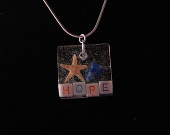 Resin SW FL Natural Starfish  and Lapis Lazuli HOPE Pendant Necklace Jewelry