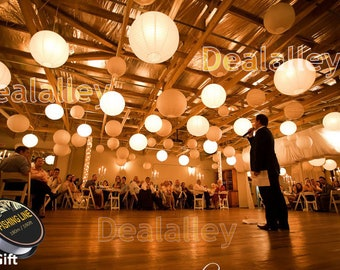"""Perfect 40 Chinese Round White Paper Lanterns + 40 Led Lights + Batterie 6"""" 8"""" 10"""" 12"""" 14"""" 16"""" 20"""" Wedding Party Floral Event Sky Decoration"""