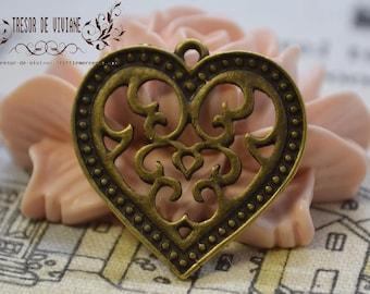 set of 10 QKA037 Heart, heart, bronze pendant