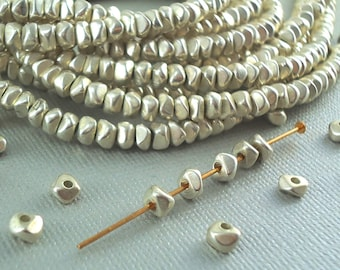 100 Silver plated Brass 4mm Nugget Chips Spacer Disk Heishi Disc Beads 4mm Chunk Metal Natural Beads