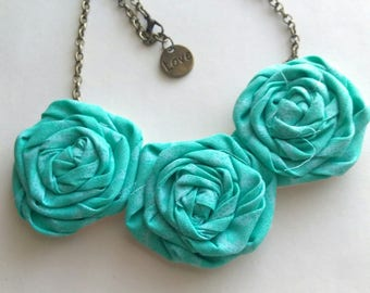Rolled Fabric Rosette Flower Necklace Fabric Flower Necklace
