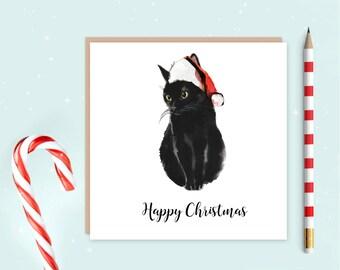 Black Cat Christmas Card - Black cat card - Santa Cat Card - Christmas cards - ideal for cat lovers