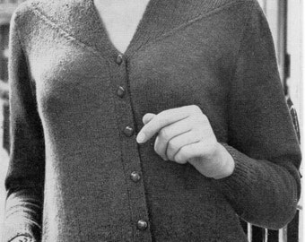 """Vintage womens 3ply cardigan knitting pattern PDF ladies fitted cardian with yoke detail 1960s 34-42"""" 3 ply PDF Instant Download"""
