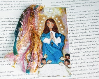 Glorimar de María - Laminated Bookmark  Handmade - Original Art by FLOR LARIOS