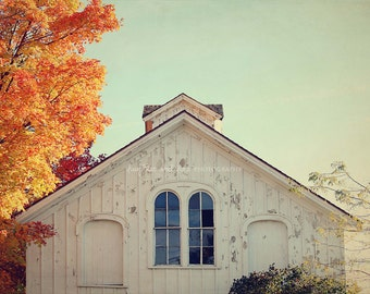 White Barn Top Photo, Autumn Farm Photography, Fall Orange Rustic Farmhouse Country Print, Fixer Upper Style Livingroom Home Decor Wall Art
