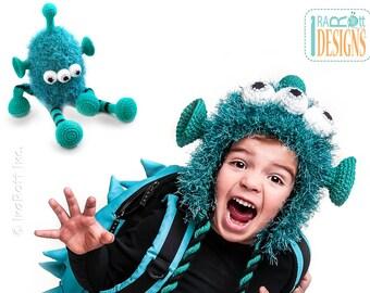 PATTERN - ZaZu Space Monster Hat and Toy Set - Crochet PDF Pattern