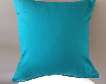 Teal pillow cover. 100% cotton