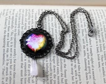 Rainbow Fireworks Heart Cabochon Black Necklace with Rose Quartz Drop Bead
