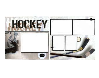 Hockey Scrapbook Page Set - Two 12x12 Coordinating Pages