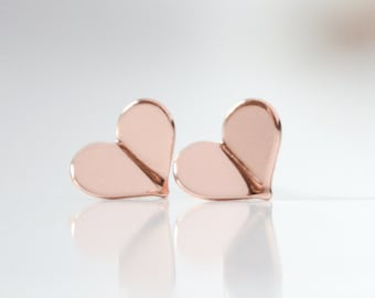 Tiny Rose Gold Heart Stud Earrings - Pink Gold Folded Heart Earrings - Valentines Day Origami Jewelry - Origami Earrings - Bridesmaid Gift