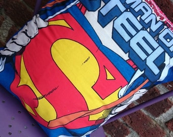 Superman DC comic book 14x14 Pillow Cushion Cover Upcycled Tshirts Eco