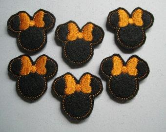 Black Felt Machine Embroidered Mouse Ears - Orange Bows - 402