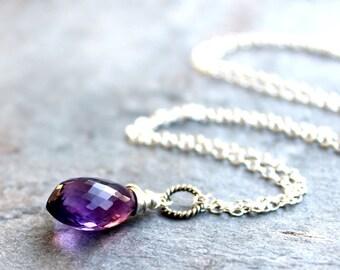 Amethyst Necklace Purple Gemstone Briolette Pendant Sterling Silver February Birthstone