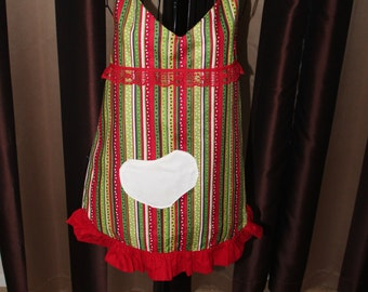 Christmas Colored Sweet Heart Flirty Apron with Lace, Ruffles, and a Heart Shaped Pocket