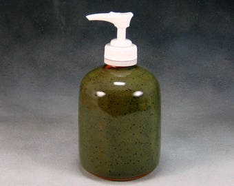 Green Lotion or Soap Dispenser Hand Thrown Stoneware Pottery 12
