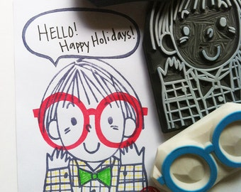 little boy rubber stamp with glasses and speech bubble stamps | diy birthday christmas scrapbooking | hand carved by talktothesun | set of 3