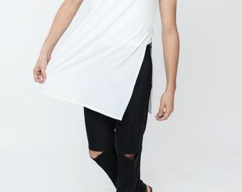 Made to order / Side slit t shirt / Side slit tank / Longline t-shirt / Long Tee / Avant garde / Double layered / sleeveles top