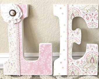 Custom Nursery Letters- Baby Girl Nursery Decor-Coral-Personalized Name-Wooden Hanging Letters-Nursery Wall Letters-The Rugged Pearl