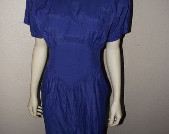Sale Carol Anderson Rocabilly Blue VTG dress 80's