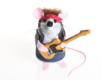Bruce Springsteen Mouse - LIMITED EDITION Rock and Roll Country Music inspired collectable Music art rat artists mice felt mouse