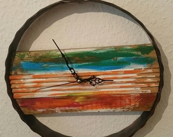 wall clock from wood and iron