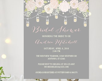 BRIDAL SHOWER INVITATION Blush Pink and Gray Mason Jars / Beautiful  Bridal Shower Shabby Chic / Gray and Blush Pink Rustic Mason Jar Invite
