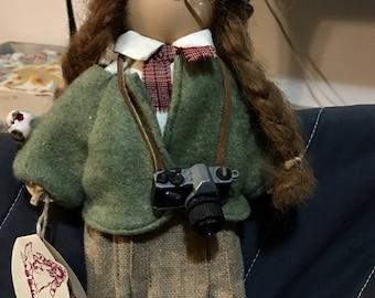 Lizzie High wood doll Marsha Bowman Bird watcher