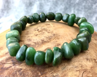 Canadian Nephrite Jade Nugget Bracelet - Green Jade - Natural Jade - Spinach Jade
