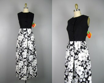 Vintage 1960s Cotton Floral Dress 60s Black and White Maxi Dress by Holly Hill Size S