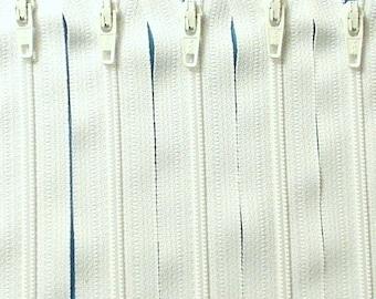 Ten 10 Inch White Zippers YKK Color 501