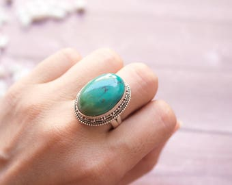 Turquoise Ring, Natural Turquoise Sterling Silver Ring, Boho Ring, Turquoise Jewelry, Healing crystals, December Birthstone Ring