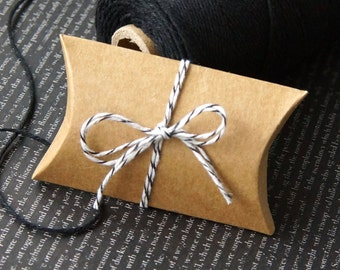 """10 Mini Kraft Pillow Boxes for Treats, Packaging & Gift Wrap . 2""""x .75""""x 3"""""""