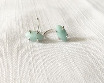 Marquis Amazonite Threader Sterling Silver Earrings; Amazonite Earrings; Silver Gemstone Earrings; Gift for her; Faceted Amazonite gemstones