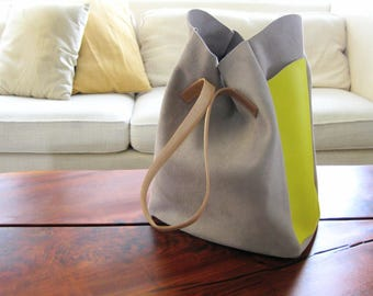 Relaxed Tote - Fog Gray Suede & Lemon Yellow Leather - Laptop bag, Shoulder bag