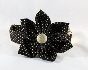 Black and Gold Polka Dot Girl Dog Flower Bow Tie Collar
