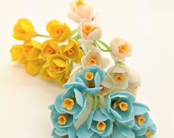 Crocus Miniature Polymer Clay Flowers Supply for Dollhouse and Flowers Beads Jewelry, 20 stems