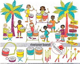 Steelpan Band: Clip Art Pack (300 dpi) Digital Images Children Steelpan Caribbean Steel Pan Palm Trees Caribbean Islands Music Teacher