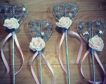 Flower Girl wand Sparkle Heart, any colour