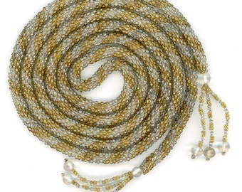 "Vintage Seed Bead Lariat Sautoir Necklace Gold & Silver Lined Seedbeads 54"" Long"