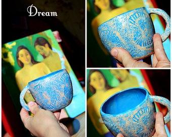 Ammonite tasse tasse à café tasse en céramique rustique tasse à thé tasse tasse en grès cadeau pour son Sacret saligram népalais Arnaud fait à la main coupe bleu