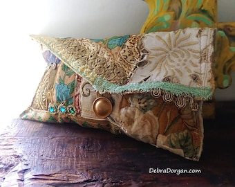 Sea & Sand Clutch Purse, Bag, Antique Textiles,  Silk Brocade, Gold, Metallic, Vintage Embroidery,  Boho Purse, Clutch, All Things Pretty