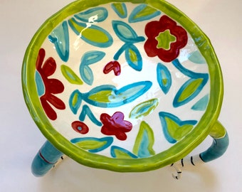whimsical pottery Serving Dish, turquoise, red & lime green ceramic colorful Bowl with summer flowers and curly striped legs