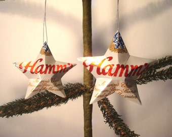 Recycled Hamm's Beer Can Aluminum Stars - Set of 2 Christmas Ornaments