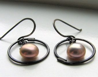 Pink Button Pearl Drops fresh water pearl and sterling silver earrings - made to order