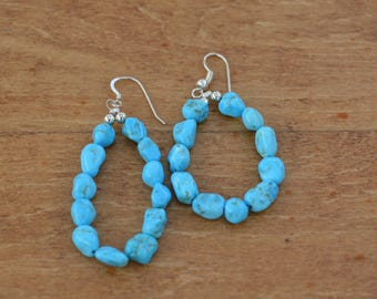 Sleeping Beauty Turquoise Nugget Loop Earrings, Finished with Sterling Silver Beads and French Wire