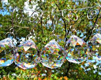 5 Crystal Balls, 30mm  Faceted Crystal Ball, Wedding Décor, Crystal Sun Catcher,  Christmas Ornament, Crystal Gift  FC 110-5