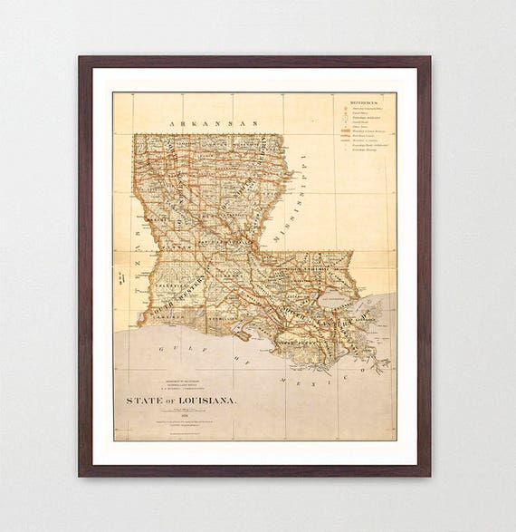 Louisiana Map - Louisiana Map Art - Map Decor - New Orleans Map - Louisiana Poster - Louisiana Decor - New Orleans Poster - Vintage Map