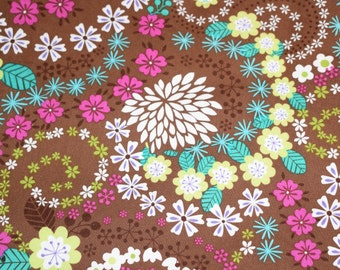 Brown Floral Fabric, Quilting Fabric, Fabric, Pink Floral Fabric, Teal Floral Fabric, Floral Fabric, Fabric